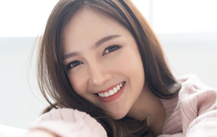 smiling comfortable woman