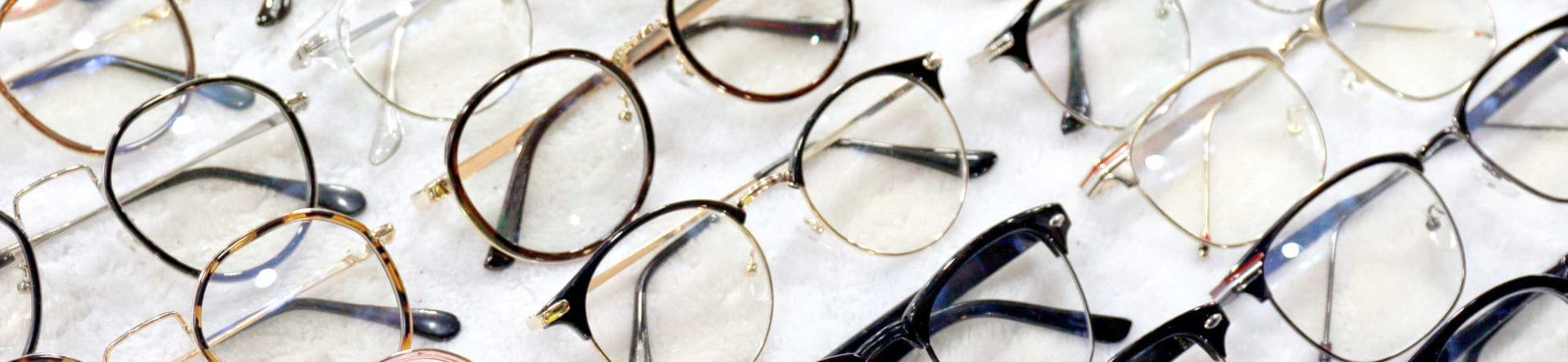 Glasses frames lined up for sale